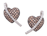 White and Champagne Synthetic Crystal Heart Earrings 3/4 Carat (ctw) in Sterling Silver