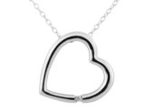 Sterling Silver Open Heart Pendant Necklace with Diamond Accent in Sterling Silver