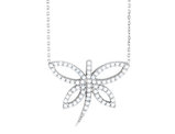 Synthetic Crystal Dragonfly Pendant Necklace in Sterling Silver