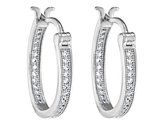 Synthetic Crystal Hoop Earrings 2/5 Carat (ctw) in Sterling Silver