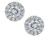 Simulated Crystal Stud Earrings 1.00 Carat (ctw) in Sterling Silver