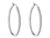 Synthetic Crystal In and Out Hoop Earringsv6/10 Carat (ctw) in Sterling Silver