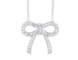 Synthetic Crystal Bow Pendant Necklace in Sterling Silver