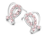 Pink Synthetic Crystal Solidarity Ribbon Heart Earrings in Sterling Silver