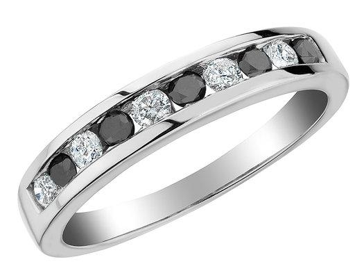 White and Enhanced Black Diamond Ring 1/2 Carat (ctw H-I, I1-I2) in 10K White Gold