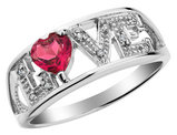 2/5 Carat (ctw) Lab-Created Ruby LOVE Promise Ring in Sterling Silver