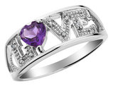 Amethyst Love Ring with Diamonds 1/3 Carat (ctw) in Sterling Silver