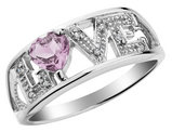 Pink Amethyst Love Ring with Diamonds in Sterling Silver