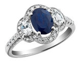 Blue Sapphire Three Stone Ring with Diamonds and Created White Sapphires 1.75 Carat (ctw) in 10K White Gold
