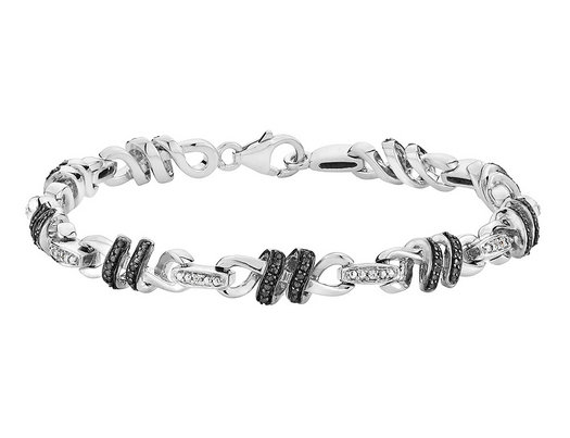White and Black Diamond Infinity Bracelet in Sterling Silver