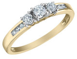 Three Stone Diamond Engagement Ring 1/3 Carat (ctw) in 10K Yellow Gold