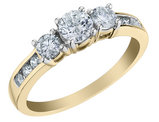 3/4 Carat (ctw H-I, I1-I2) Three Stone Diamond Engagement Ring in 10K Yellow Gold