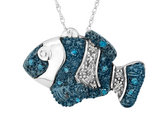 White and Blue Diamond Fish Pendant Necklace 1/10 ctw in Sterling Silver with Chain