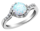 Created Opal Ring with White Sapphire 7/10 Carat (ctw) in Sterling Silver