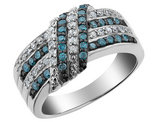 1/2 Carat (ctw) White and Blue Diamond Ring in Sterling Silver