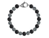 David Sigal Men's 10mm Matte Black Onyx Dragon Bracelet with Synthetic Black Crystals