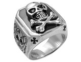 David Sigal Men's Skull Ring in Stainless Steel