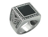 David Sigal Men's Military Ring with Black Enamel and Synthetic Crystals in Stainless Steel