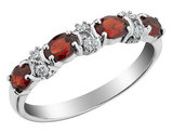 Garnet Ring with Diamonds 1.0 Carat (ctw) in 10K White Gold