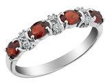 Garnet Ring with Diamonds 1.0 Carat (ctw) in 10K White Gold