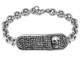 David Sigal Men's Skull Bracelet with Synthetic Crystals in Stainless Steel