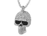 David Sigal Skull Necklace Pendant with Black and Synthetic White Crystals in Stainless Steel