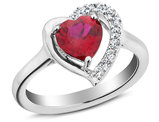 1.40 Carat (ctw) Lab Created Ruby Heart Ring with White Sapphire  in Sterling Silver