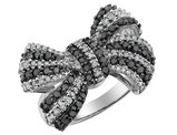 White and Black 1 Carat (ctw) Forget-Me-Knot Diamond Bow Ring in Sterling Silver