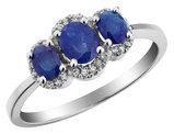 Three Stone Blue Sapphire Ring with Diamonds 1.0 Carat (ctw) in 10K White Gold