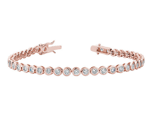 4.0 Carat (ctw) Lab Created White Topaz Tennis Bracelet in Sterling Silver with Rose Gold Plating