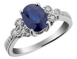 Blue Sapphire Ring with Diamonds 1.5 Carat (ctw) in 10K White Gold