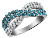 White and Blue Diamond Infinity Ring 1.0 Carat (ctw Clarity I1-I2) 10K White Gold
