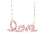 Synthetic Crystal Love Pendant Necklace in Sterling Silver with Rose Gold Plating