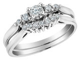 Diamond Engagement Ring and Wedding Band Set 1/4 Carat (ctw) in 10K White Gold