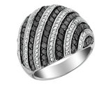 White and Black Diamond Ring 1.50 Carat (ctw) in Sterling Silver