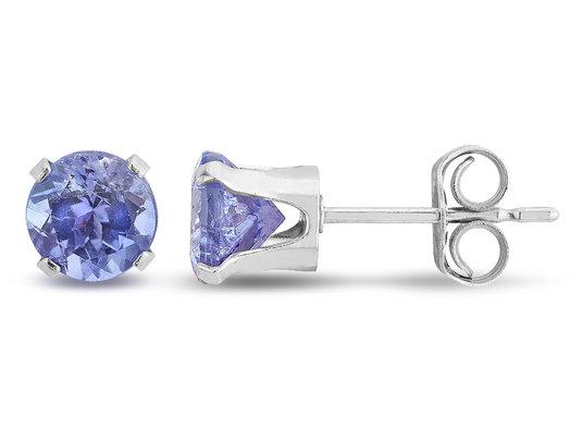 Tanzanite Solitaire Stud Earrings 3/4 Carat (ctw) in Sterling Silver