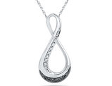 Black and White Diamond Infinity Pendant Necklace in Sterling Silver with Chain