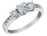 1.0 Carat (ctw H-I, I2-I3) Three Stone Diamond Engagement Ring and Anniversary Ring in 10K White Gold