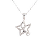 Fairy Pendant Necklace with Diamond Accent in Sterling Silver with Chain