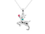 Rudolph Pendant Necklace with Diamond Accent in Sterling Silver with Chain