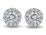 Crystal Stud Earrings 1.24 Carat (ctw) in Sterling Silver