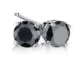 2.0 Carat (ctw) Black Diamond Solitaire Stud Earrings in Sterling Silver