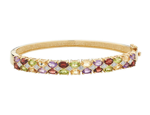 Amethyst, Garnet, Citrine and Peridot Bangle with Diamonds in Sterling Silver with 18K Yellow Gold Plating