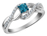 White and Blue Diamond Infinity Ring 1/3 Carat (ctw) in Sterling Silver