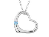 Open Heart Pendant Necklace with Blue Topaz in Sterling Silver with chain