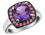 Amethyst Ring with Rhodolite Halo in Sterling Silver