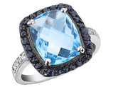 Blue Topaz Ring with Midnight Sapphire in Sterling Silver