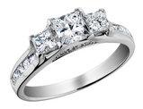 1.00 Carat (ctw H-I, I1-I2) Three Stone Princess Cut Diamond Engagement Ring 14K White Gold