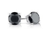 Black Diamond Stud Earrings 1/2 Carat (ctw) in Sterling Silver