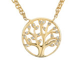 Created White Topaz 'Tree of Life' Pendant Necklace in Sterling Silver with Yellow Gold Plating